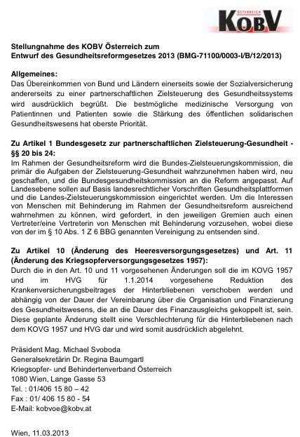 Aktuelle Stellungnahme des KOBV Österreich zum Entwurf des Gesundheitsreformgesetzes 2013